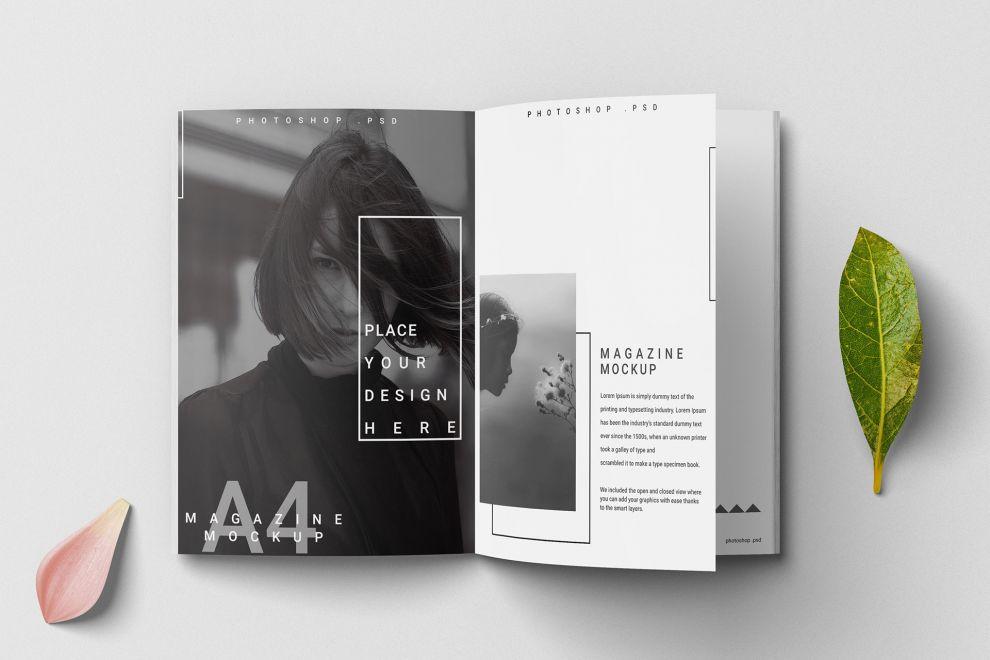 Opened A4 Magazine Free Mockup