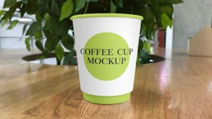 Paper Coffee Cup on Table Free Mockup