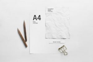 A4 Paper Composition Free Mockup