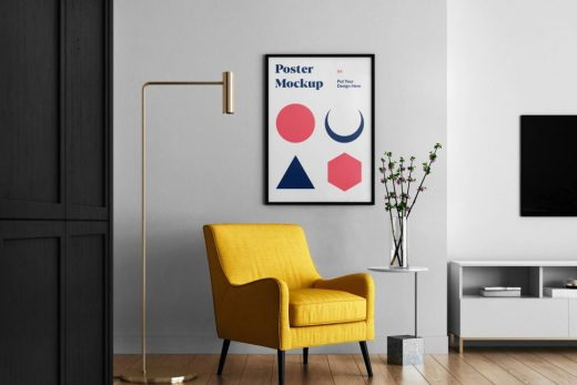 Poster in Living Room Free Mockup