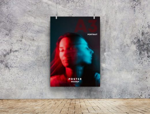 Poster on Cement Free Mockup