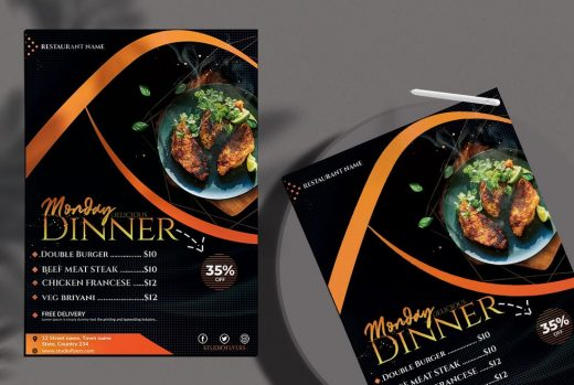 Restaurant Dinner Menu Free PSD Template