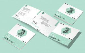 Square Tri-Fold Brochure Free Mockup