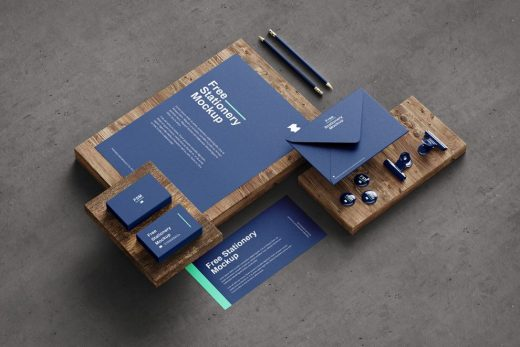 Stationery on Wood Scene Free Mockup