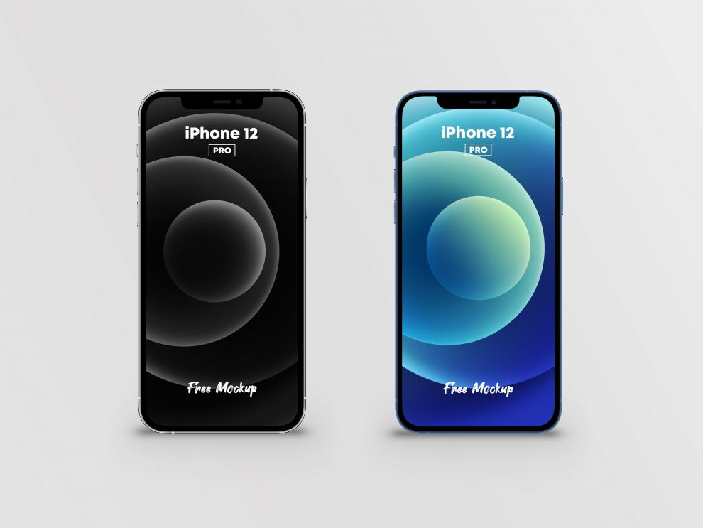 iPhone 12 Pro Silver & Blue Free Mockup (PSD)