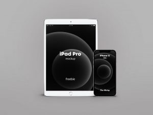 iPhone 12 Pro & iPad Pro Silver Free Mockup