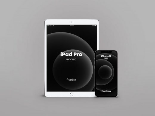 iPhone 12 Pro & iPad Pro Silver Free Mockup