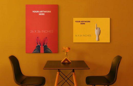 2 Canvas Poster Free Mockup