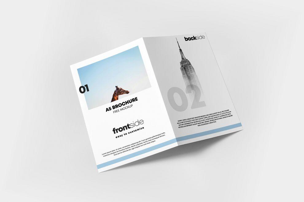 A5 Bi-Fold Brochure Cover Free Mockup