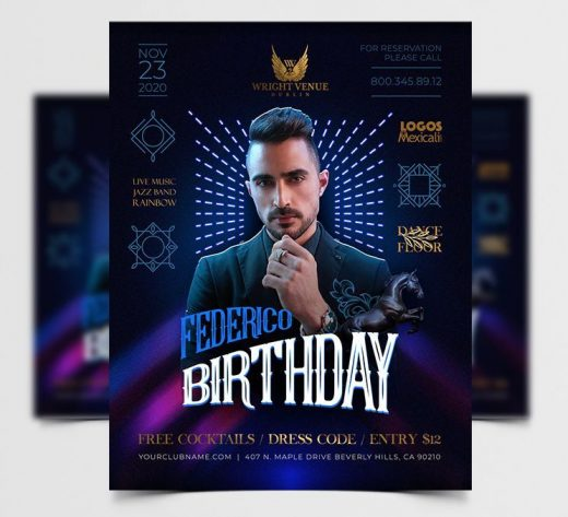 Birthday Party DJ Free Flyer Template (PSD)