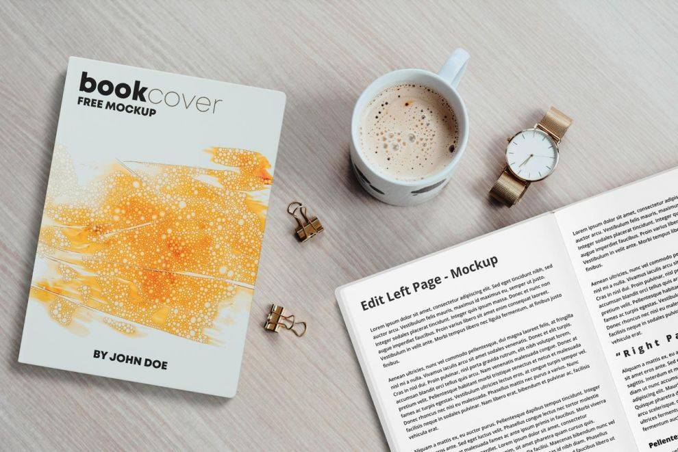 Book Cover & Pages Free Mockup