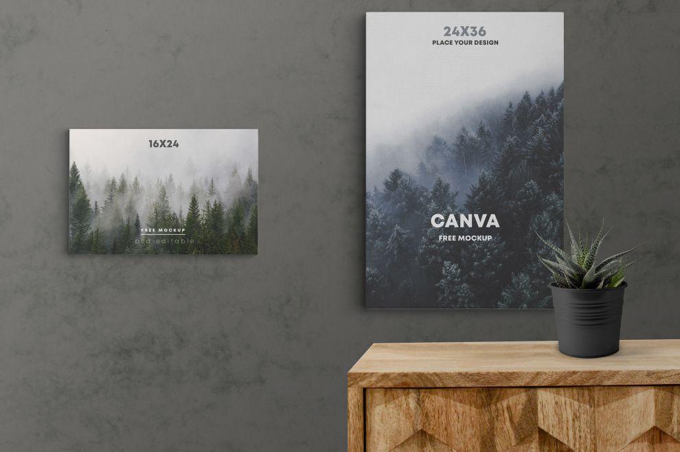 Canva Poster Scene Free Mockup - StockPSD