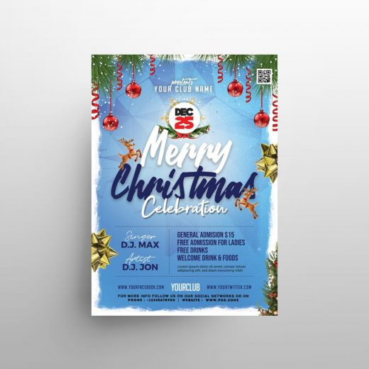 Christmas Celebration Event Free Flyer Template (PSD)