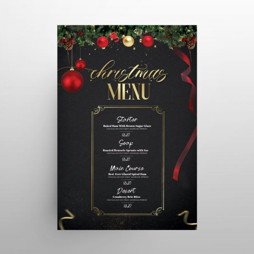 Christmas Dinner Dish Menu Free PSD Template