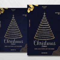 Christmas Golden Event Free Flyer Template (PSD)