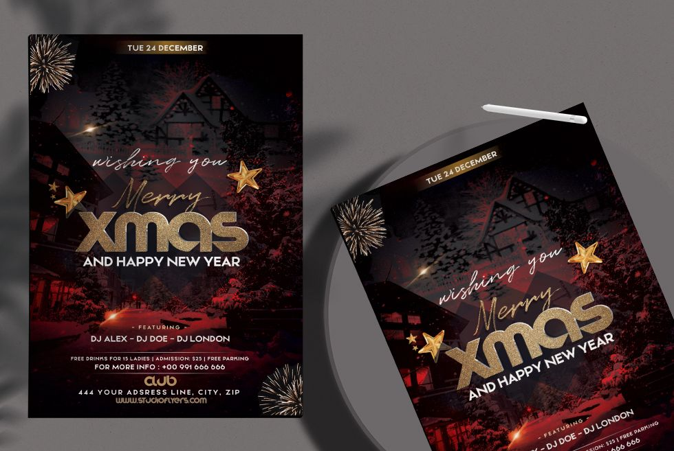 Christmas Night Event Free Flyer Template (PSD)