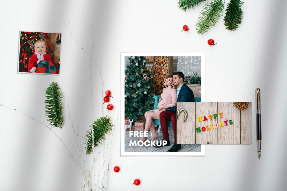 Christmas Papers & Cards Kit Free Mockup