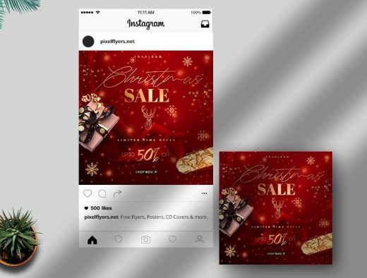 Christmas Sale Free Instagram Post Template (PSD)