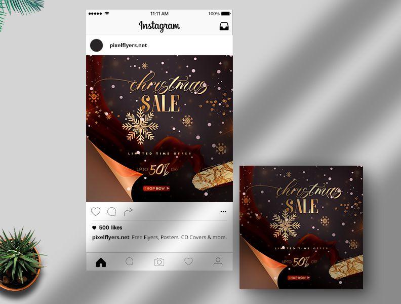 Christmas Sale Free Instagram Post Template v.2 (PSD)