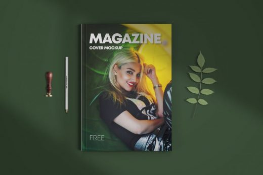 Clean Magazine Cover Free Mockup (PSD)