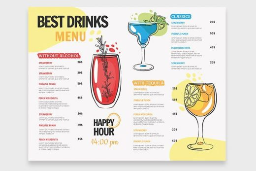 Drink Menu Free Restaurant Bi-Fold PSD Template
