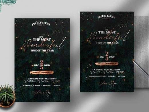 Elegant Christmas Celebration Free Flyer Template (PSD)