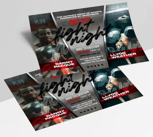 Fight Night Box Free Flyer PSD Template