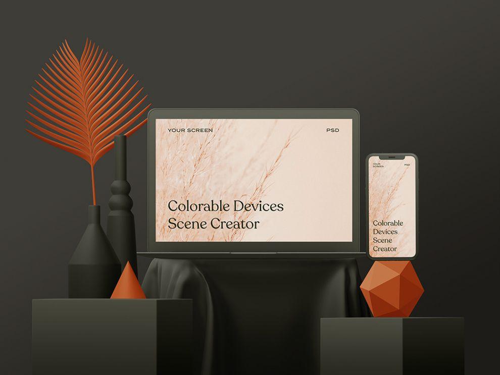 Free Apple Devices Clay Scene Mockup