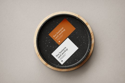 Free Business Card in Bowl Mockup