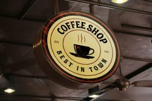 Free Cafe Round Rustic Signboard Mockup