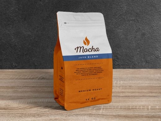 Free Coffee Pouch Packaging Bag Mockup