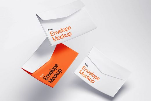 Free Floating Envelopes Mockup
