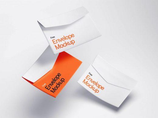 Free Floating Envelopes Mockup