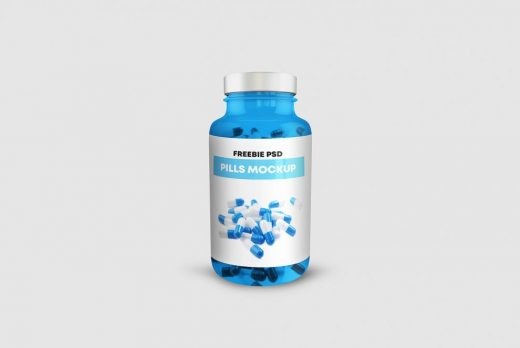 Free Pills Bottle Mockup (PSD)