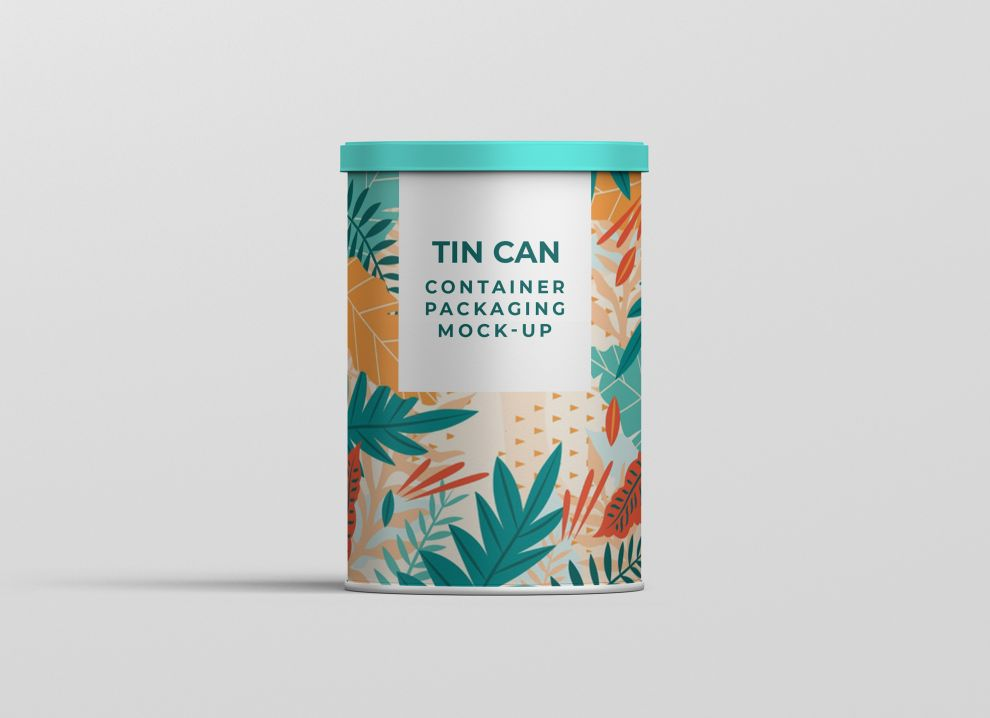 Free Tin Can Container Mockup