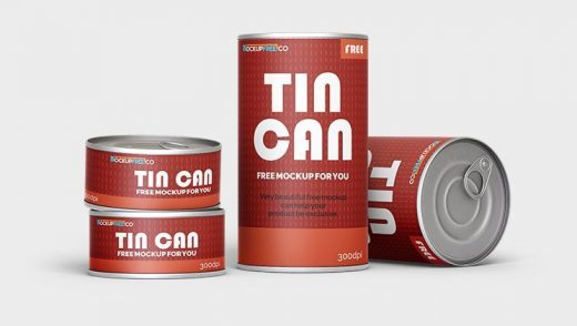 Free Tin Can Mockup Set