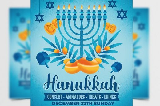 Hanukkah Event Free Flyer Template (PSD)