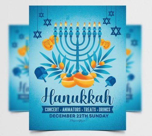Hanukkah Event Free Flyer Template (PSD)