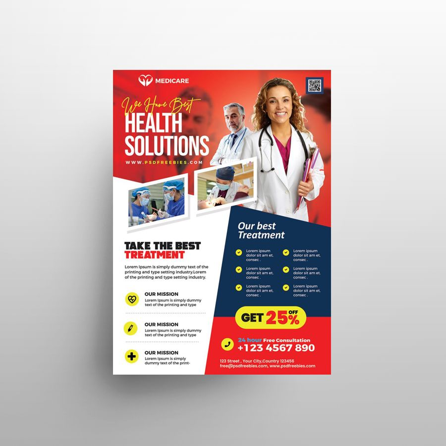 Health Care Services Free Flyer Template (PSD)