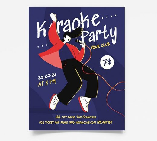 Karaoke Party Night Free Flyer Template (PSD)