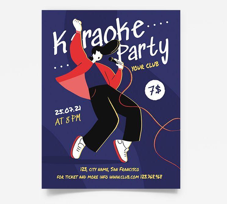 Karaoke Party Night Free Flyer Template (PSD)
