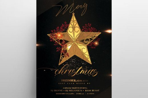 Luxury Christmas Invitation 2020 Free Flyer Template (PSD)