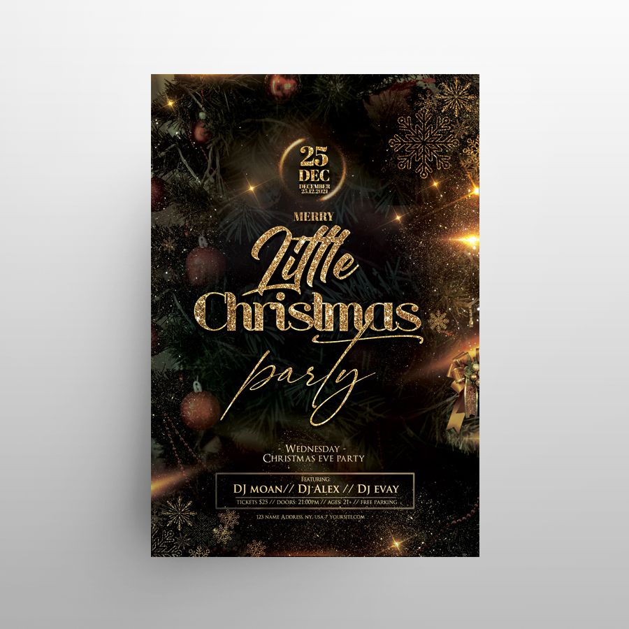 Magic Christmas Party Free Flyer Template (PSD)