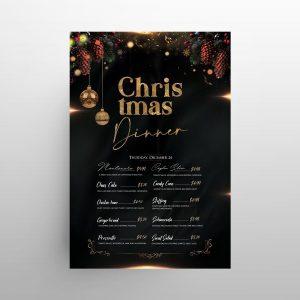 Merry Christmas Restaurant Menu Free PSD Template