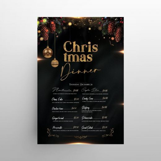 Merry Christmas Restaurant Menu Free PSD Template
