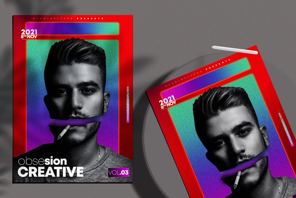 Minimalist Color Party Free Flyer Template (PSD)