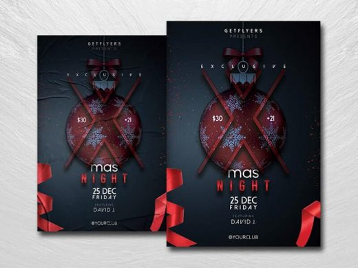 Minimalist Xmas Party Free Flyer Template (PSD)