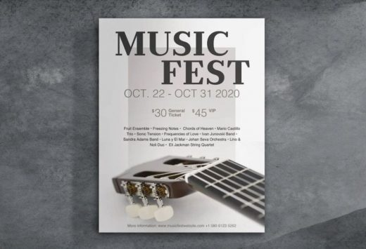 Music Fest Event Free Flyer Template (PSD)