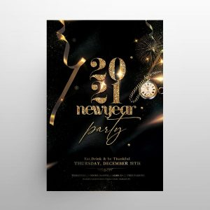 NYE Eve 2021 Black & Gold Free Flyer Template (PSD)