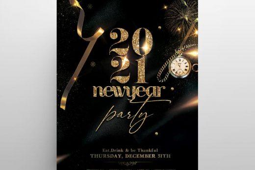 NYE Eve 2021 Black & Gold Free Flyer Template (PSD)